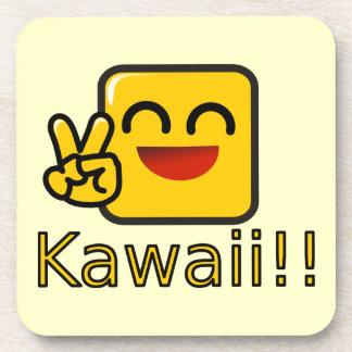 Kawaii Happy Peace Sign Coaster