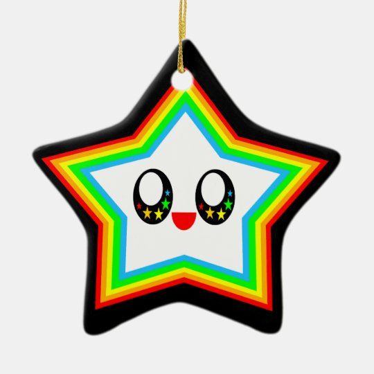 Kawaii Happy Rainbow Star Face Ornament