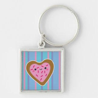 Kawaii Heart Cookie on Blue Stripes Keychain