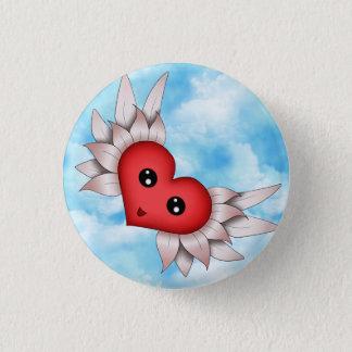 Kawaii Heart On Silver Wings Button