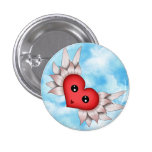 Kawaii Heart On Silver Wings Buttons