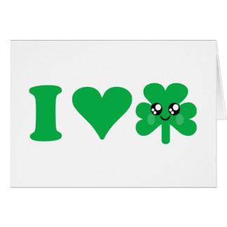Kawaii Heart Shamrock Love Lucky Irish Card
