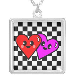 Kawaii Hearts & Checkerboard Silver Necklace