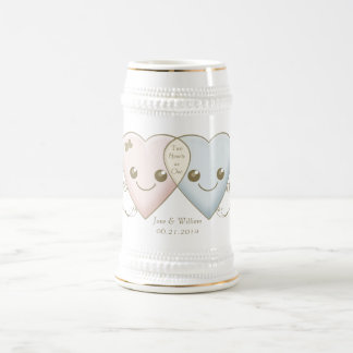 Kawaii Hearts Entwined Wedding Favor / Favour 18 Oz Beer Stein