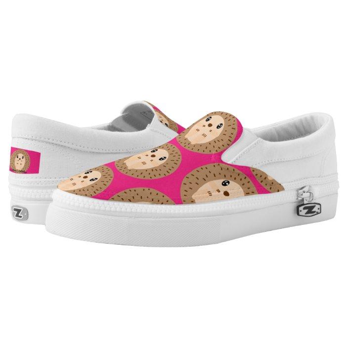Kawaii Hedgehog Hot Pink Slip-On