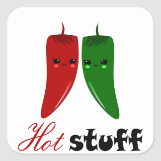 KAWAII HOT PEPPERS SQUARE STICKER