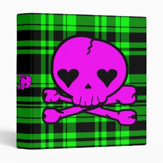Kawaii Hot Pink Skull on Neon Green Plaid Binder