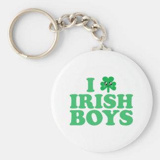 KAWAII I LOVE IRISH BOYS SHAMROCK HEART LUCK IRISH BASIC ROUND BUTTON KEYCHAIN
