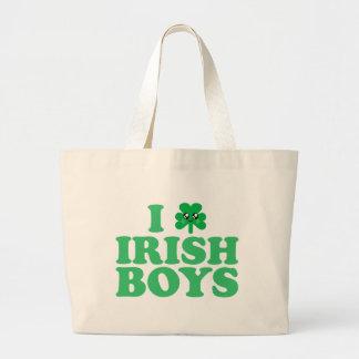 KAWAII I LOVE IRISH BOYS SHAMROCK HEART LUCK IRISH LARGE TOTE BAG