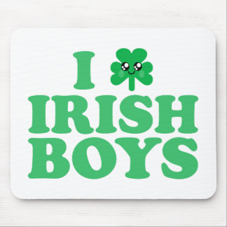 KAWAII I LOVE IRISH BOYS SHAMROCK HEART LUCK IRISH MOUSE PAD