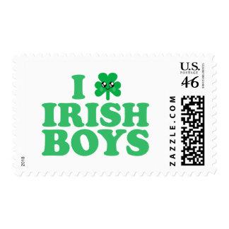 KAWAII I LOVE IRISH BOYS SHAMROCK HEART LUCK IRISH POSTAGE STAMPS