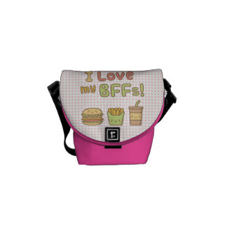 Kawaii I Love My BFFs Burger French Fries Soda Messenger Bag