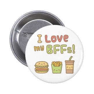 Kawaii I Love My BFFs Fast Food Button Badge