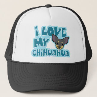 Kawaii I Love My Black & Tan Chihuahua Trucker Hat