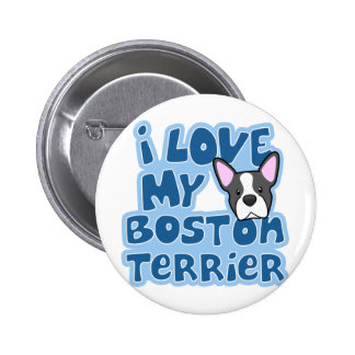 Kawaii I Love My Boston Terrier Button