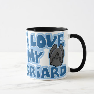Kawaii I Love My Briard (Black) Mug