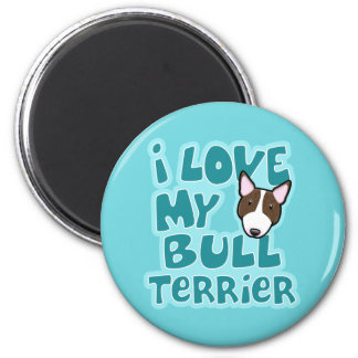 Kawaii I Love My Brindle Bull Terrier 2 Inch Round Magnet