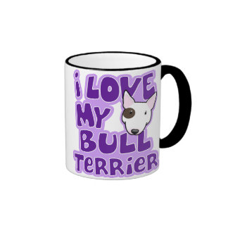 Kawaii I Love My Bull Terrier Ringer Coffee Mug