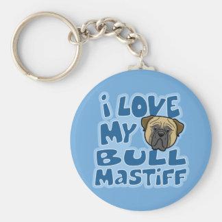 Kawaii I Love My Bullmastiff Basic Round Button Keychain