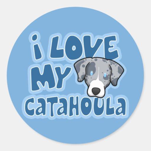 Kawaii I Love My Catahoula Classic Round Sticker