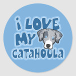 Kawaii I Love My Catahoula Stickers