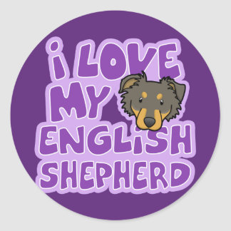Kawaii I Love My English Shepherd Classic Round Sticker