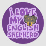 Kawaii I Love My English Shepherd Sticker