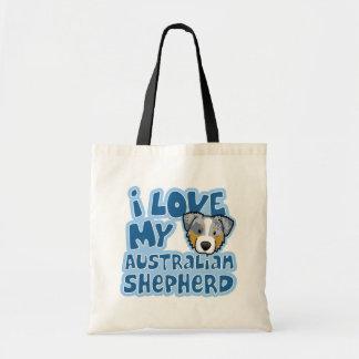 Kawaii I Love My Merle Australian Shepherd Budget Tote Bag