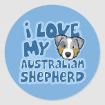 Kawaii I Love My Merle Australian Shepherd Round Stickers