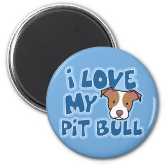 Kawaii I Love My Pit Bull Refrigerator Magnets