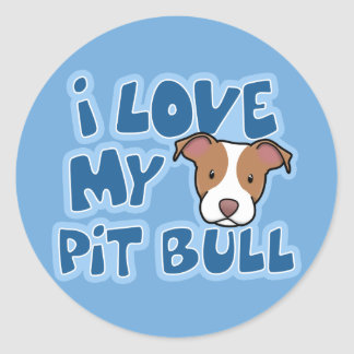 Kawaii I Love My Pit Bull Stickers