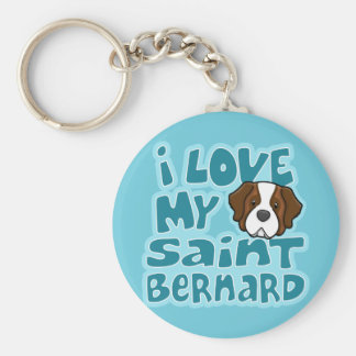 Kawaii I Love My Saint Bernard Keychain