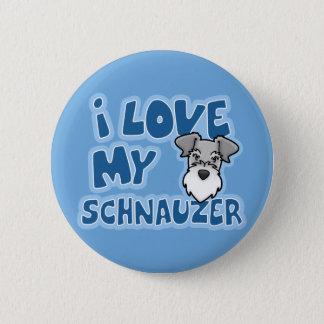 Kawaii I Love My Schnauzer Button