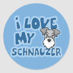 Kawaii I Love My Schnauzer Round Stickers
