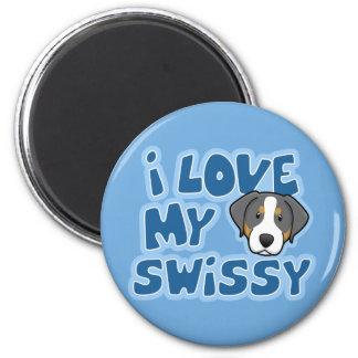 Kawaii I Love My Swissy 2 Inch Round Magnet