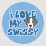 Kawaii I Love My Swissy Round Sticker