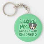 Kawaii I Love My Tri Color Australian Shepherd Keychains