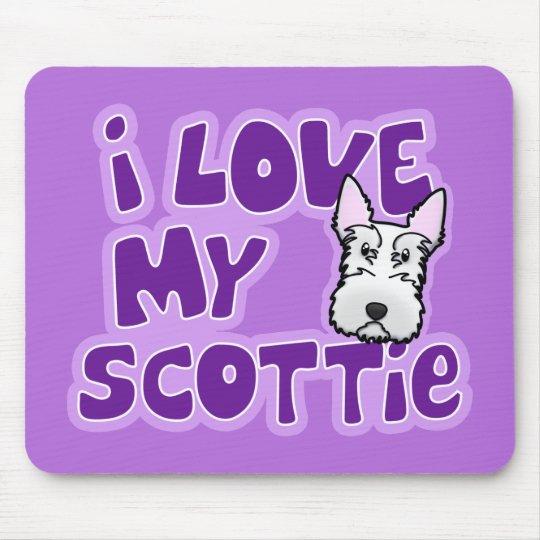 Kawaii I Love My White Scottie Mouse Pad