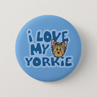 Kawaii I Love My Yorkie Pinback Button