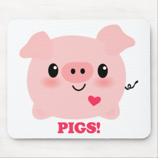 Kawaii I Love Pigs Mouse Pad