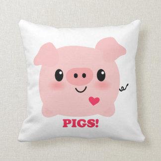 Kawaii I Love Pigs Throw Pillow