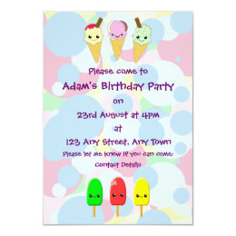 Kawaii Ice Cream and Popsicles Children's Party Card