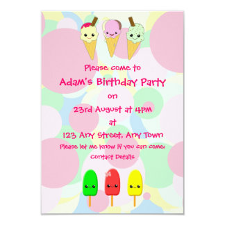 Kawaii Ice Cream and Popsicles Children's Party Custom Announcements