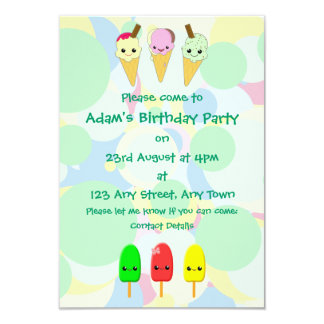Kawaii Ice Cream and Popsicles Children's Party Invitations