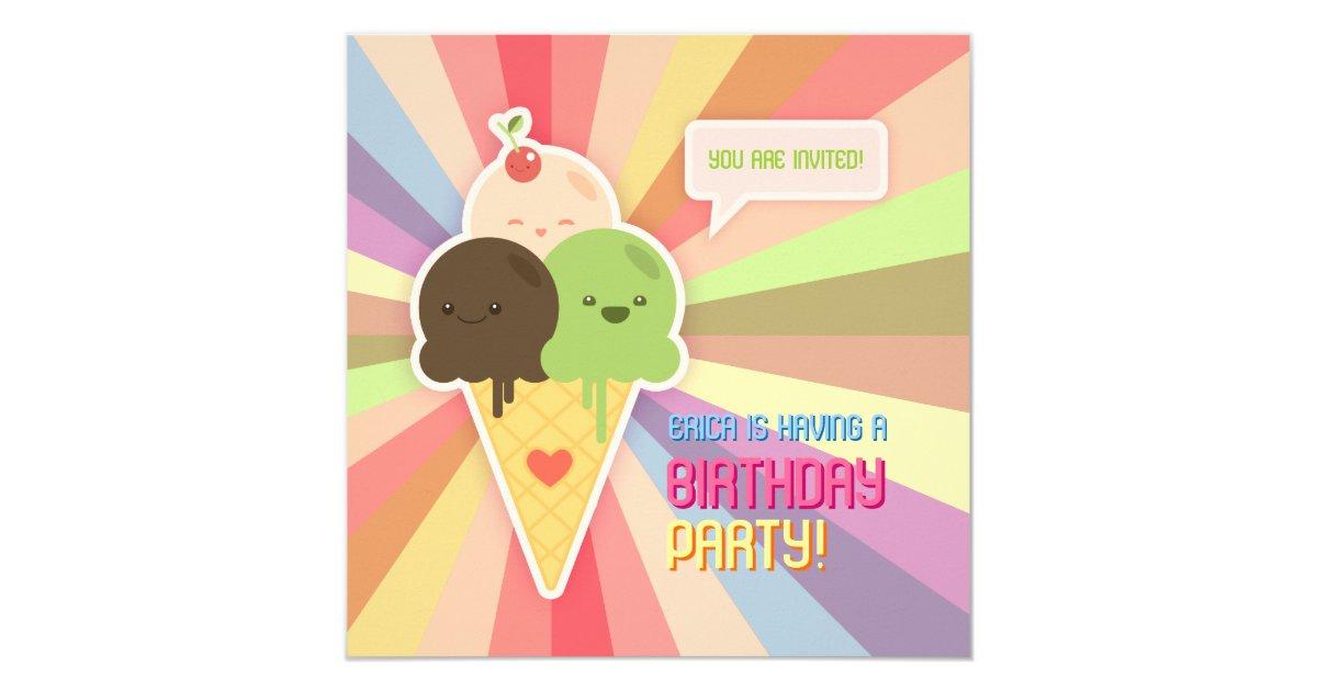 Kawaii Ice Cream Birthday Party Invitation | Zazzle.com