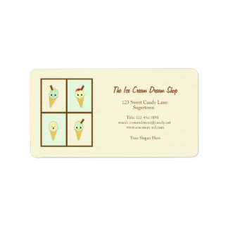 Kawaii Ice Cream Business Card Style Sticky Labels