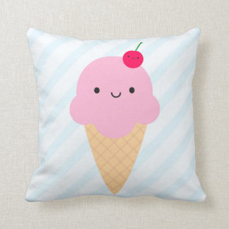 Kawaii Ice Cream Cone & Ice Lolly / Popsicle Throw Pillow