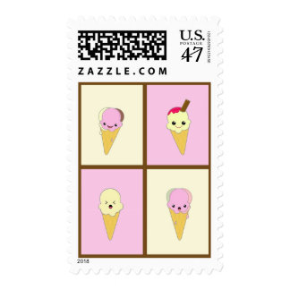 Kawaii Ice Cream Cone in Pinks and Creams Postage Stamp