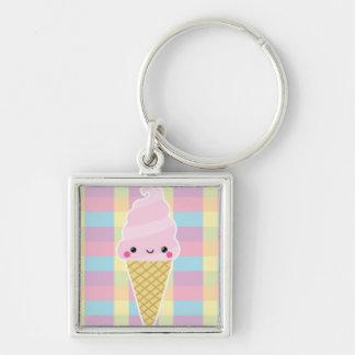 Kawaii Ice Cream Cone on Colorful Checks Keychain