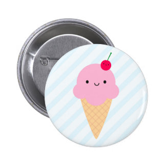 Kawaii Ice Cream Cone Pinback Button